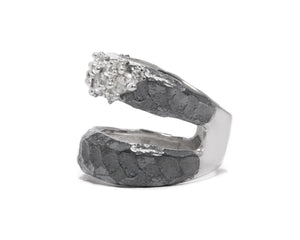 Ring for Her | Moon Frostbite right view | White Rhodium | Kukka Jewelry""