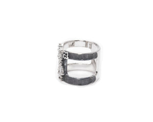 Ring for Women | Moonbeam up view | 18kt White Gold Plated | Kukka Jewelry""