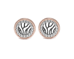 Earrings for Girls | Woods Circle front view | White Gold and Black Rhodium | Kukka Jewelry
