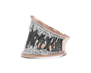 Woods Stars left view | Rose Gold Sterling Silver Plated Ring for Her | Kukka Jewelry