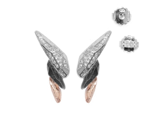 Earrings for Girls | Obsydian Rose Fury full view | 18kt Rose Gold Plated | Kukka Jewelry""