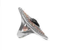 Obsydian Rose Melting Point right view | Rose Gold Sterling Silver Plated Ring for Girls | Kukka Jewelry