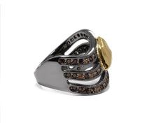 Obsydian Shadow Molten right view| Yellow Gold Plated Ring for Ladies | Kukka Jewelry