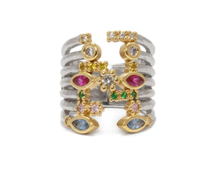 Thai Splash Captivate front model view 1 | Yellow Gold Plated Ring for Girls | Kukka Jewelry