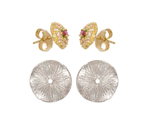 Earrings for Women 'Thai Splash Flower ' Yellow Gold Plated Sterling Silver