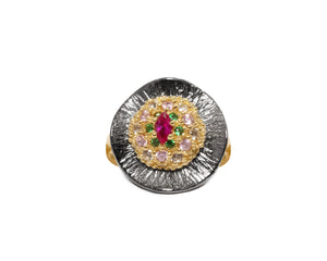 Thai Splash Shadow Flower front view | Ring for Her | 18kt Yellow Gold Plated | Kukka Jewelry