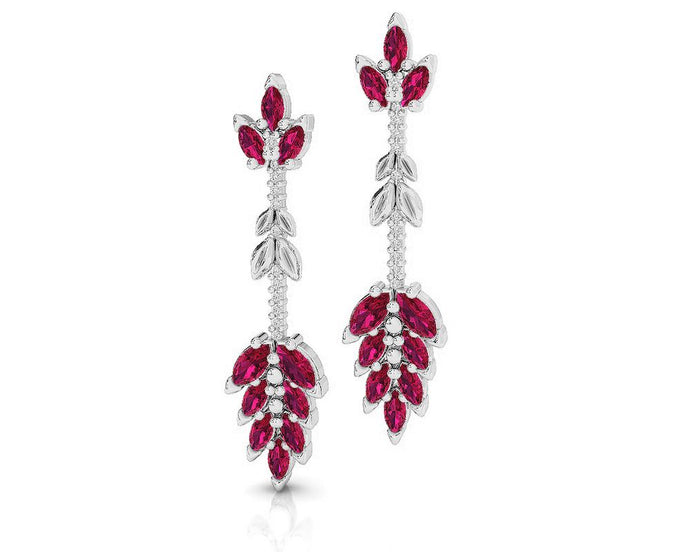 Earrings for Women in 18kt Gold with Diamonds and Ruby | Kukka Jewelry