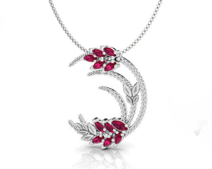 Pendant for Women in 18kt Gold with Diamonds and Ruby