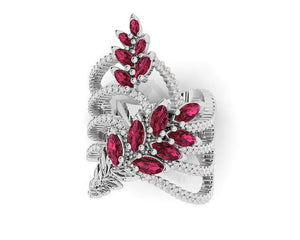 Womens' Ring in 18kt Gold with Diamonds and Ruby | Kukka Jewelry