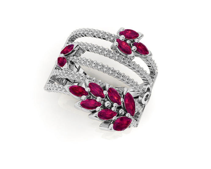 Ring for Women with 18kt Gold and Diamonds and Ruby | Kukka Jewelry