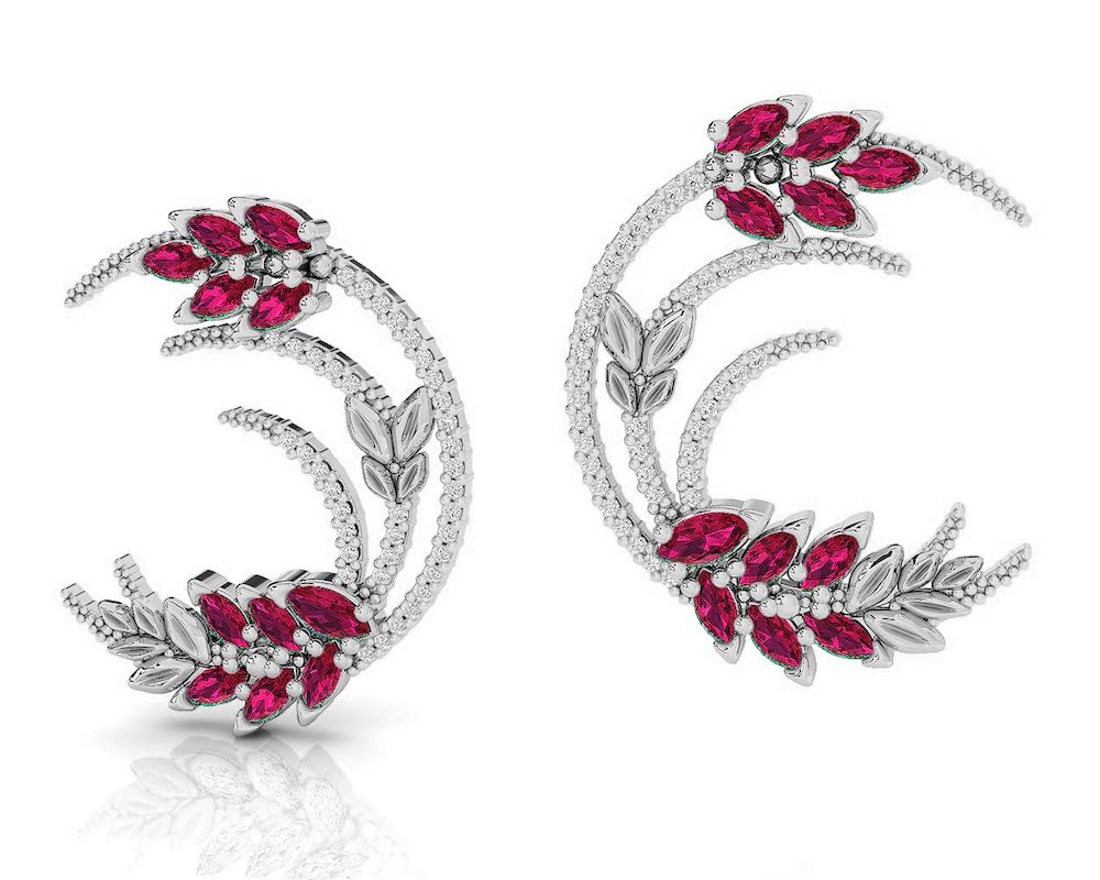 Earrings for Her in 18kt Gold with Diamonds and Ruby | Kukka Jewelry