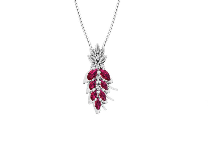 Womens' Pendant in 18kt Gold with Diamonds and Ruby