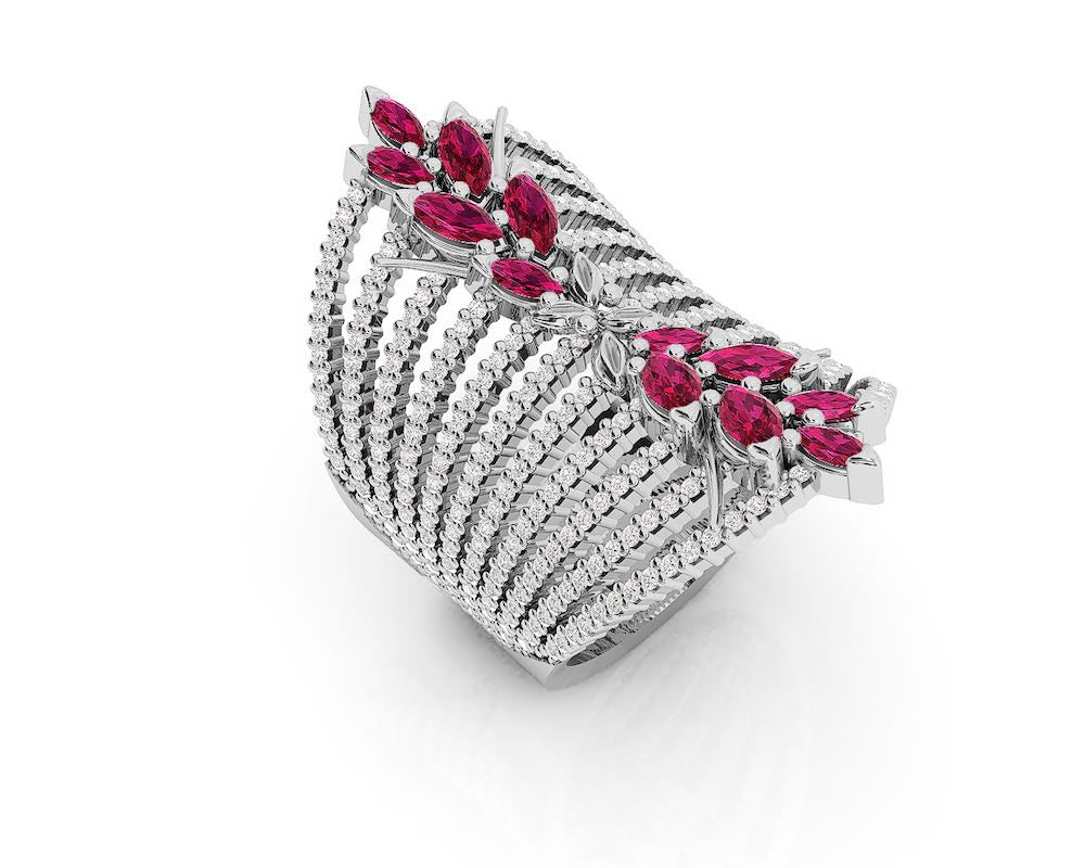 Rings for Her with 18kt Gold and Diamonds and Ruby | Kukka Jewelry