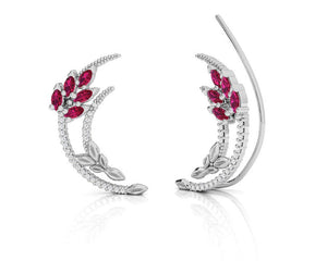 Earrings for Women with 18kt Gold and Diamonds and Ruby | Kukka Jewelry