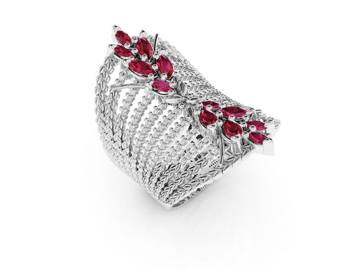 Women' Ring with 18kt Gold and Diamonds and Ruby | Kukka Jewelry