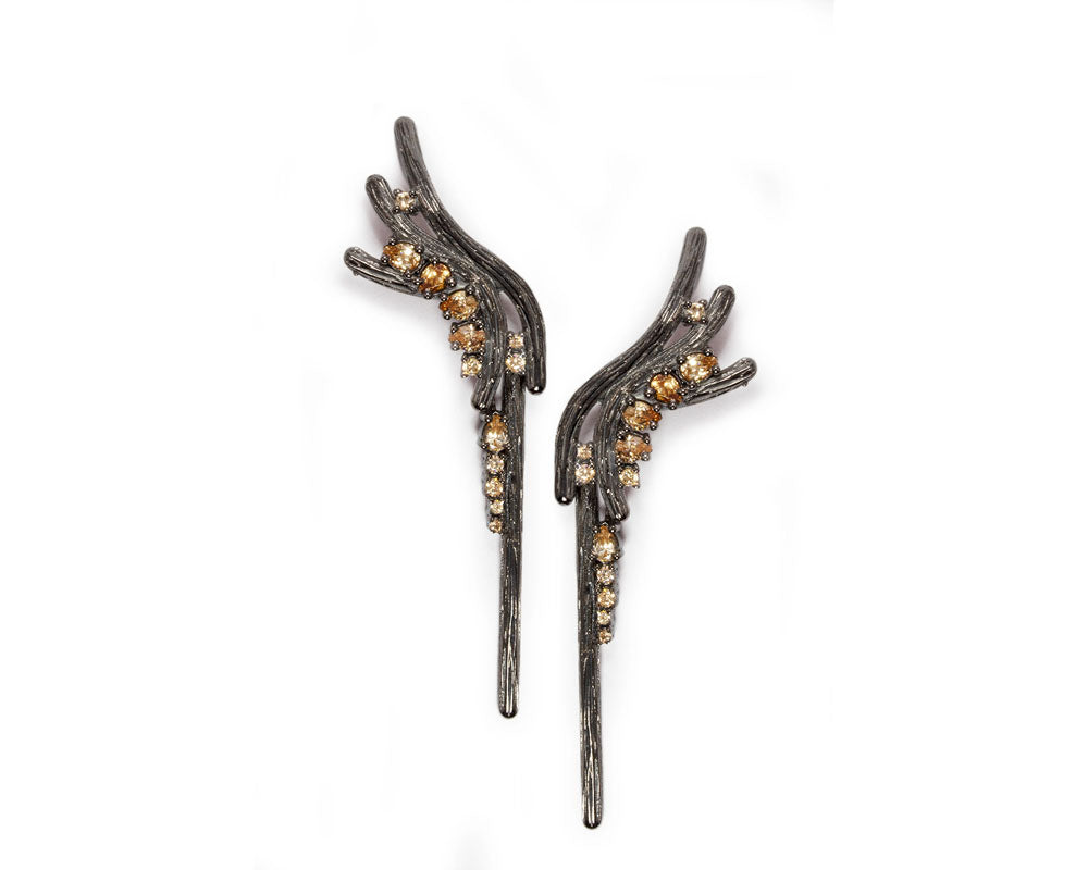 Earrings for Her Black Gold Plated Sterling Silver 'Bourbon Vanilla Cascade '