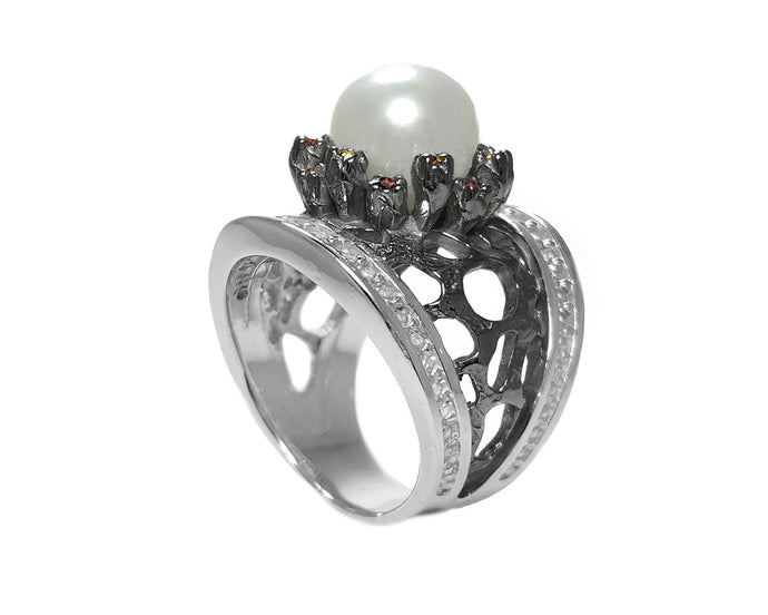 Ring for Her Rhodium Silver Plated 'Alma Perla Lune Astrid Ring'