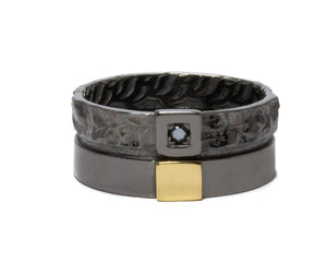 Core Magma Discovery front view | Black Gold Ring for Guys | Kukka Jewelry