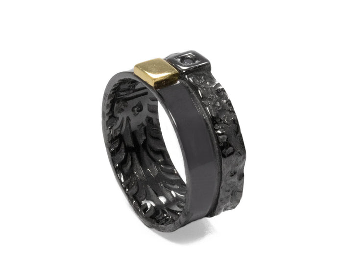 Black Gold Plated Sterling Silver Ring for Male 'Blaze Magma Discovery '