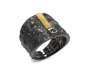 Black Gold Plated Sterling Silver Ring 'Blaze Magma Maximum ' for Man