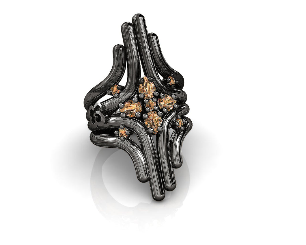 Black Rhodium Plated Sterling Silver Ring 'Bourbon Vanilla Fantasy ' for Her