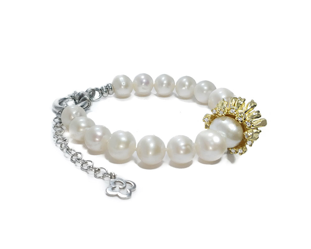Bracelet Gold Plated Sterling Silver for Women 'Alma Perla Sol Gloria Bracelet '