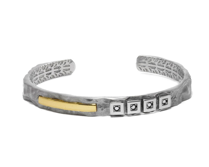 White Rhodium Bracelet for Women | Core Magma Centigrade main view | Kukka Jewelry