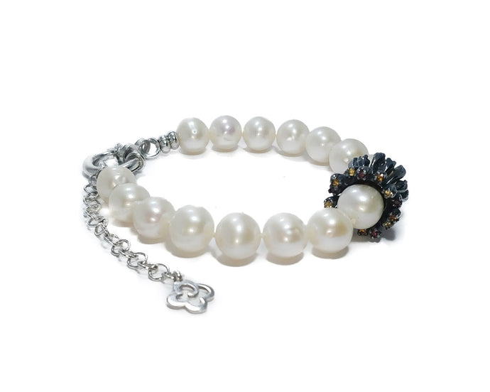Bracelet with Black Gold for Girls 'Alma Perla Lune Gloria'