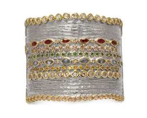 Gold Plated Sterling Silver Cuff 'Thai Splash Majesty ' for Ladies