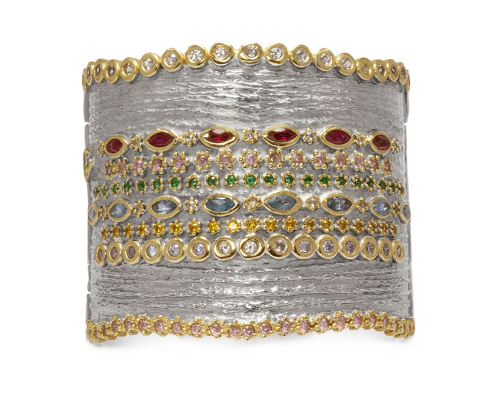 Cuff for Ladies | Thai Splash Majesty main view | with Gold | Kukka Jewelry
