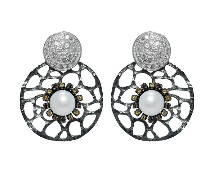 Earrings Black Rhodium Silver Plated for Ladies 'Alma Perla Black'