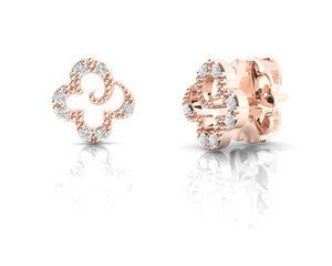 Ladies' 'Kukkadas Rose Flower ' Studs Rose Gold Plated
