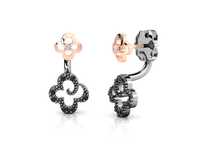 Girls' Sterling Silver Earrings Rose Gold  Plated 'Kukkadas Shadow Bouquet '