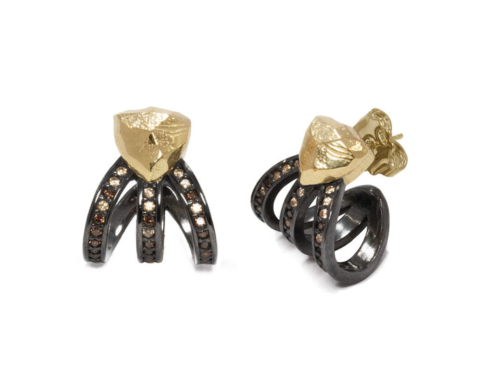 Girls' Earrings Gold Plated 'Obsydian Shadow Molten '