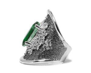 side left Girls' White Gold Plated Ring | Leaves Green | Kukka Jewelry