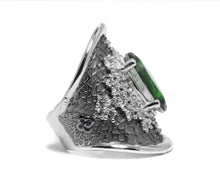 side right Girls' White Gold Plated Ring | Leaves Green | Kukka Jewelry