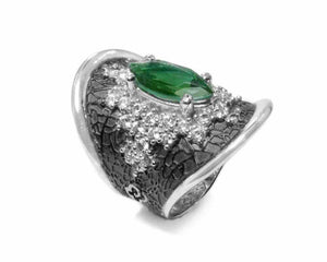 front Girls' White Gold Plated Ring | Leaves Green | Kukka Jewelry