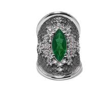 Girls' White Gold Plated Ring | Leaves Green | Kukka Jewelry