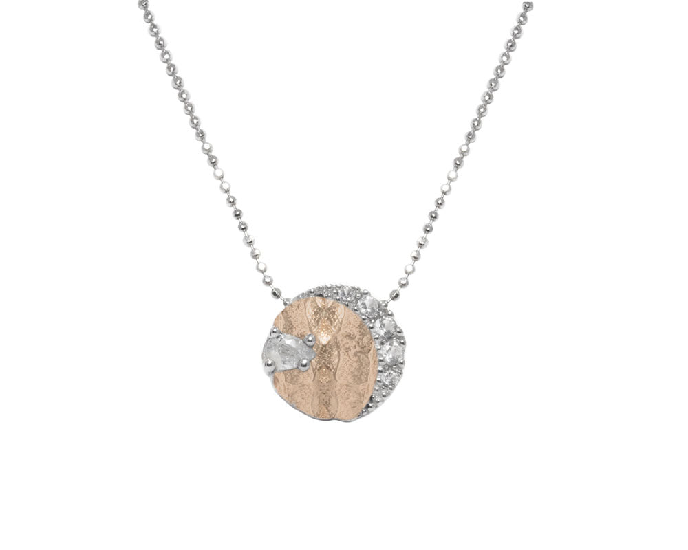 Girls' 'Rose Moon Eclipse ' Pendant 18kt Rose Gold Plated