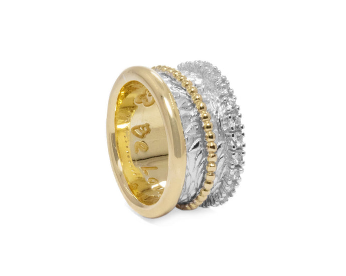 Girls' Ring 18kt Gold Plated Silver 'Gold Trinity '