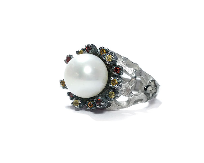Girls' Silver Black Rhodium Ring 'Alma Perla Lune Sea Star'
