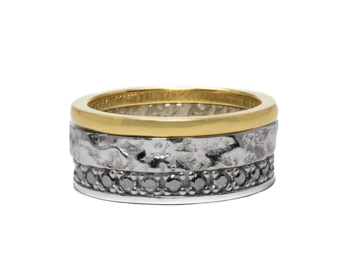 Mens's 'Core Magma Convection' White Rhodium Ring