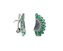 Leaves Green side view | White Gold Girls' Earrings | Kukka Jewelry