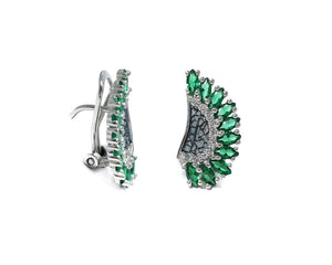 Leaves Green | White Gold Girls' Earrings | Kukka Jewelry