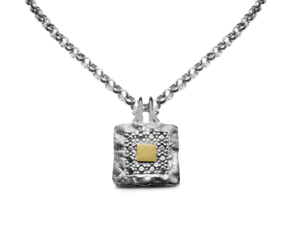 Mens 18kt White Gold Pendant | Core Magma Compass | Kukka Jewelry