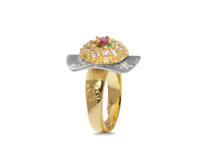 Thai Splash Flower main view | Girls' Ring 18kt Yellow Gold Plated | Kukka Jewelry