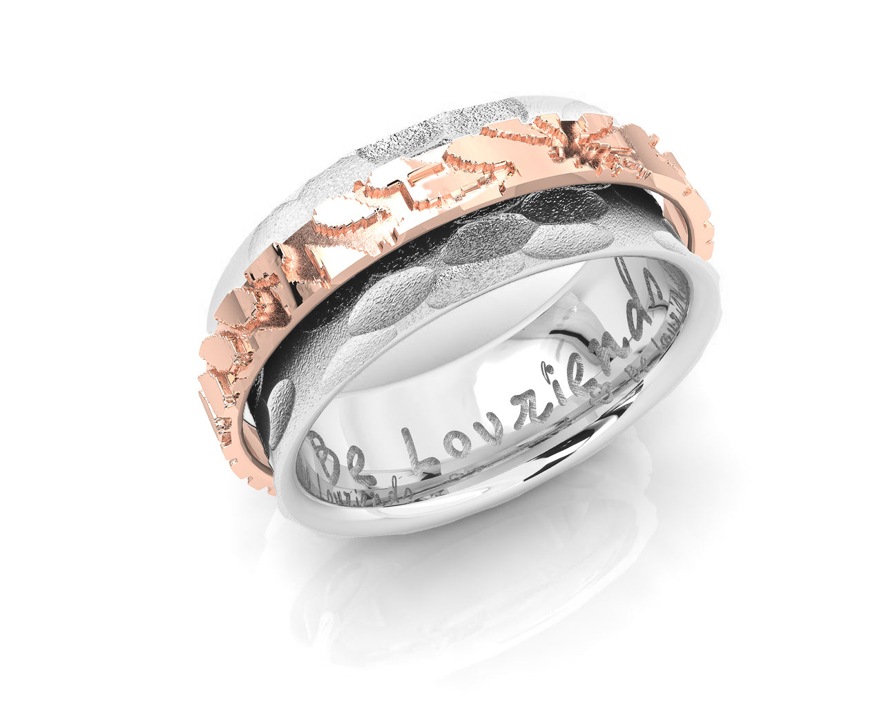 Ring Pink Gold Silver Plated for Girls 'Gold Lining '