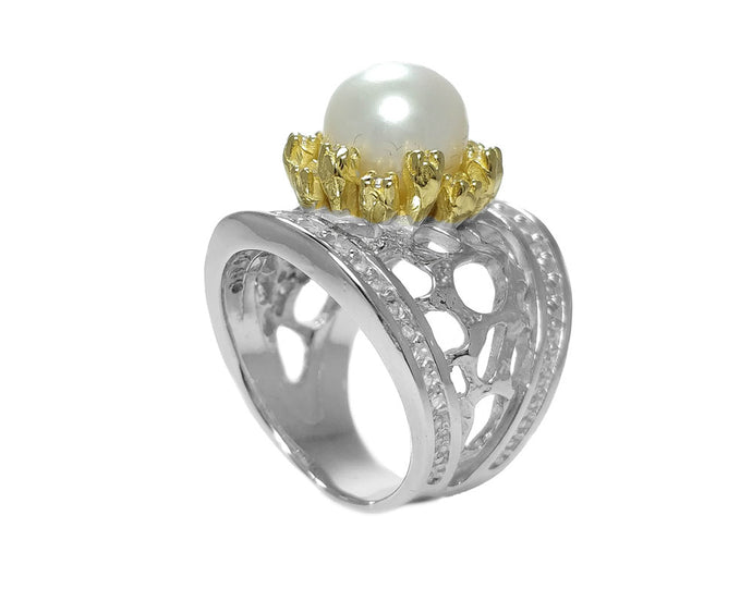 Ring for Girls 18 kt Gold Silver Plated 'Alma Perla Sol Astrid'