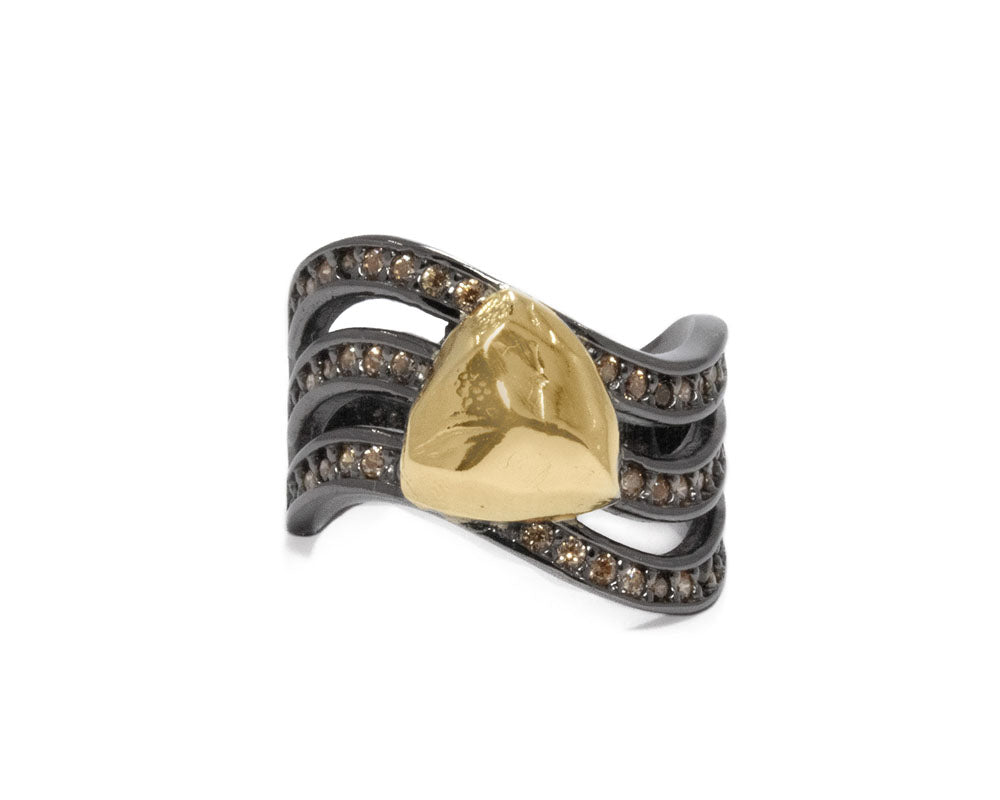 Obsydian Shadow Molten main view | Yellow Gold Plated Ring for Ladies | Kukka Jewelry