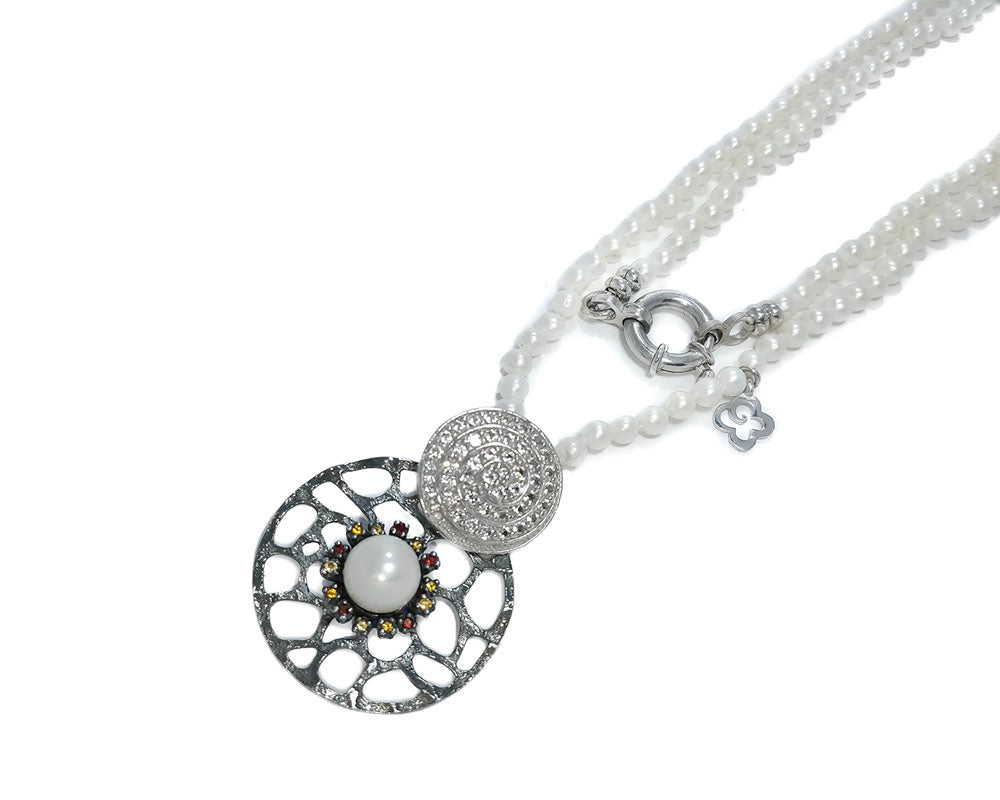 Ladies' 'Alma Perla Lune' Necklace Black Rhodium